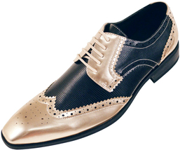 handmade leather men lace up dress shoes custom gold and black two tone shoes - $168.20 - $178.10