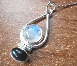 Moonstone Globe in Hoop Accented by Black Onyx Pendant 925 Sterling Silver - $15.83