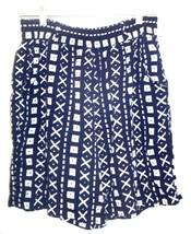 Sz M - Esprit Navy Blue & White Rayon Shorts w/Elastic Waist w/Belt Loops - $18.99
