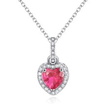 Pendant Necklace, Love Heart Necklace Pendant Simulated Pink Tourmaline ... - $68.54