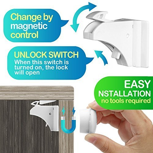 Baby Proofing, 43 Pcs Cabinet Locks Child Safety- 8 Magnetic Cabinet Locks+2 Key