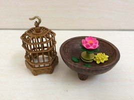 Dollhouse Miniature Bird Cage And Lotus Flower Set. RARE - $24.00