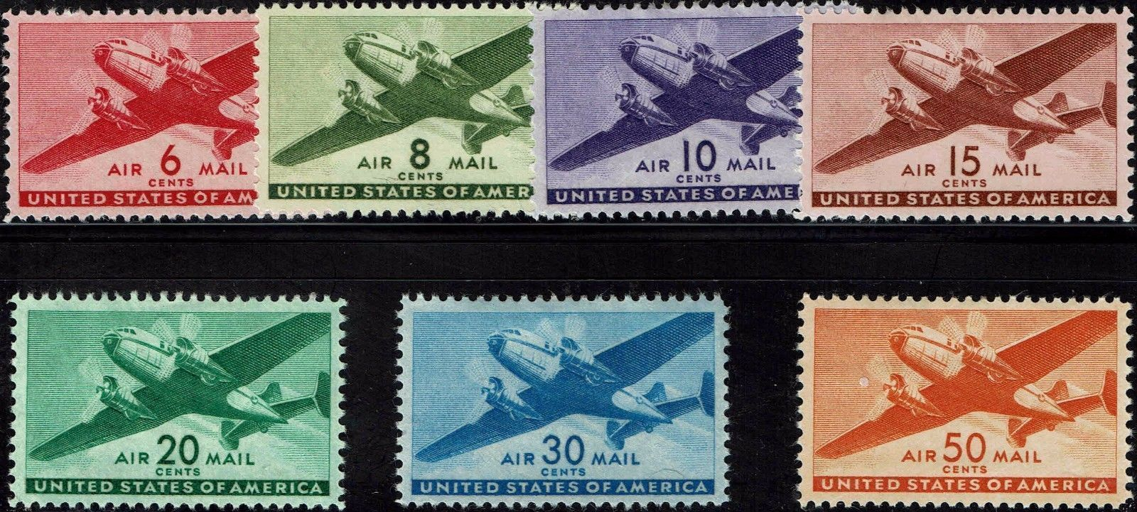 1941-44 Airmail Issues, Transport Planes, Scott C25-31, Set of 7 Mint F/VF NH