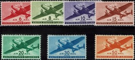 1941-44 Airmail Issues, Transport Planes Scott C25-31 Set of 7 Mint F/VF NH - $15.74