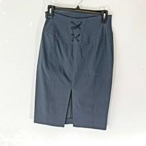 Express Womens Sz 4 Pinstripe Skirt Career Ribbon Back Zip Up  - $13.09