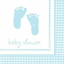 Plaid Blue Boy 16 Beverage Napkins Baby Shower Party Footprints - $2.78