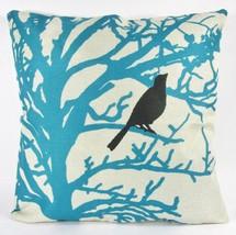 Black Bird Throw Pillow Teal Coral Crow Cover Only Linen Texture Contemp... - ₹886.79 INR