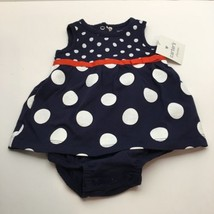 CARTER'S PLAYWEAR ONE PIECE INFANT SIZE 3 MONTHS BLUE POLKA DOT WITH RED... - $3.96