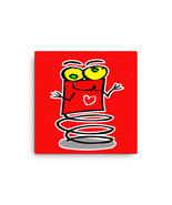 Red Bouncing Robot Spring Bouncy Alien Cute Canvas Print Classroom Offic... - $54.50+
