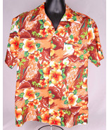 Genuine Hawiian Shirt-L-Floral-Button Front-Polyester-Orange Brown-Vtg-220 - $70.11