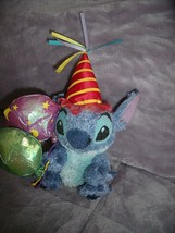 "Disney BIRTHDAY STITCH Beanie Plush 8"" HTF Party Hat & Balloons  - $16.78"