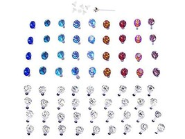 Set of Plastic Earrings (18 Pairs Vibrant Color and 18 Pairs Clear Cryst... - $24.09