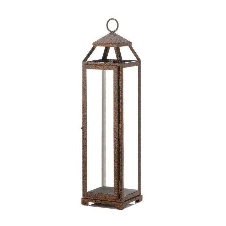 4 Rustic Chic Extra Tall Candle Lanterns Speckled Copper Finish Glass Panels