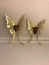 Vintage Hollywood Regency Metal Gold Tone Wood Butterflies Wall Art Set ... - $14.01