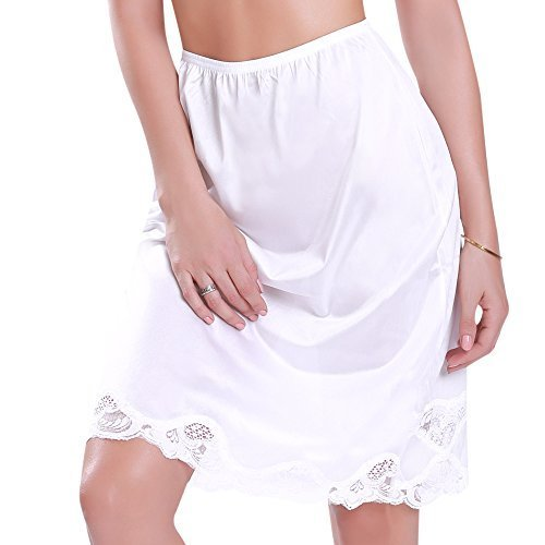 Women's Plus Size Half Slip Skirt 3XLarge White 24 inches