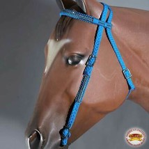 U-A311 Turquoise Horse Bridle Headstall Flat Braided Paracord Crystal Hilason - $27.95