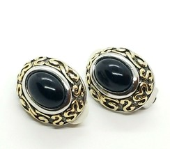 Vintage Oval Black Stone Silver Tone Clip On Earrings  - $15.60