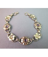 VTG 1/20 12K on Sterling Silver PR ST CO Bracelet Purple Glass Cabochon ... - $29.69