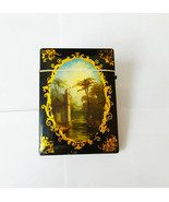 Antique Laquered Card Case Handpainted with River Scene Double Sided Rare - $565.24