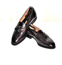 Johnston & Murphy Burgundy Leather Wing Tip Tassel Loafer Made in USA Me... - $57.82