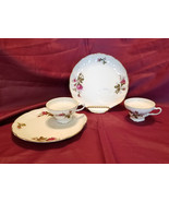 Vtg Moss Rose Snack Set w/ Gold Trim by Lipper and Mann, 10 pieces (circ... - $45.00