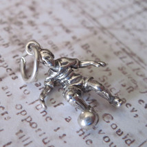 3D Soccer Player Charm Vintage Shube's - Made in the USA - Sterling Silver - $16.00
