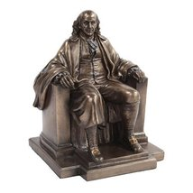 7.5 Inch Benjamin Franklin Figurine Statue Sitting in Chair Knickknack - $47.52