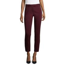Liz Claiborne Womens Mid Rise Slim Fit Ankle Pant - Burgundy - Size XL #... - $29.99