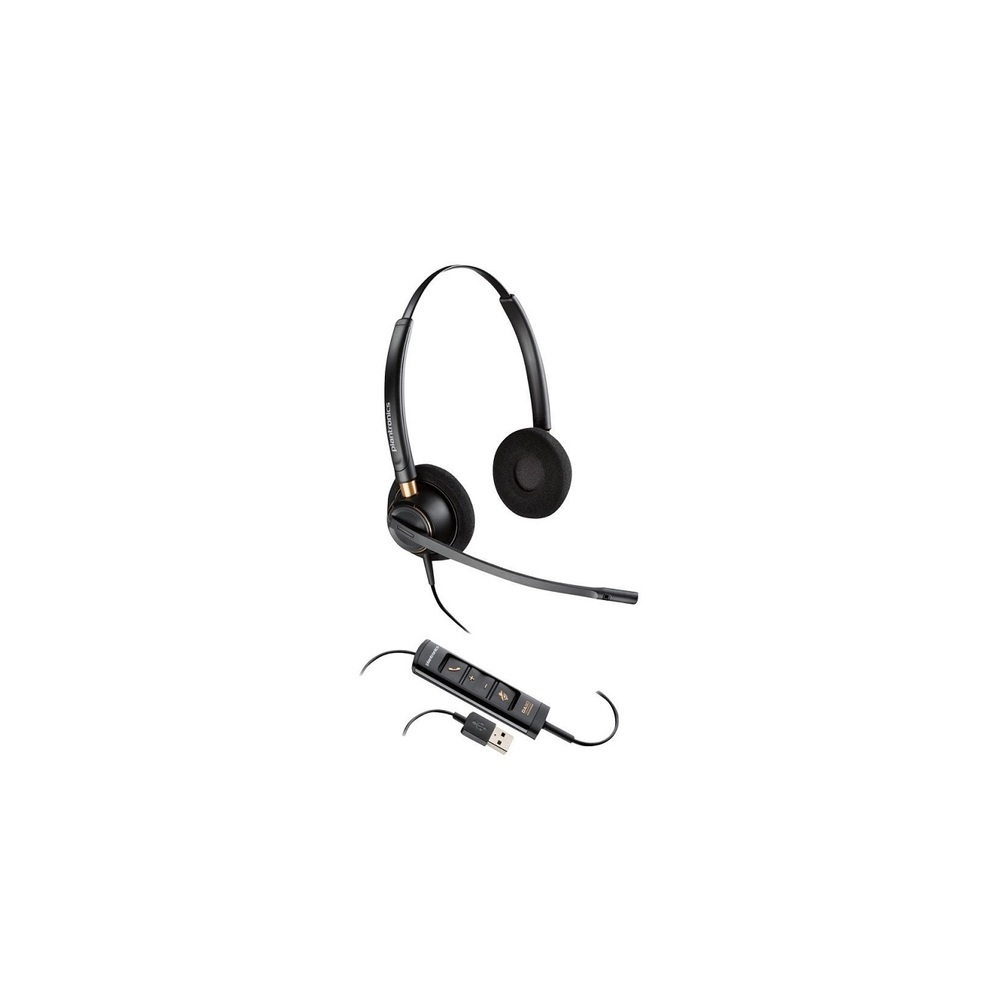 Plantronics HW525 Corded Headset With USB Connection Black 203444-01