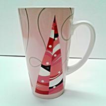 Starbucks Coffee 2004 Tall Latte Mug Pink Christmas Holiday Trees 16 oz Cup - $13.00