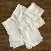 """G Vintage monogrammed Linen napkins 23"""" set of 4 ivory lot holiday dinne... - $34.50"""