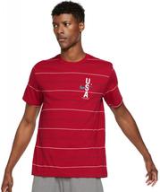Nike Mens  Short Sleeve Moisture Wicking T-Shirt RED USA STRIPED TRAININ... - $19.79