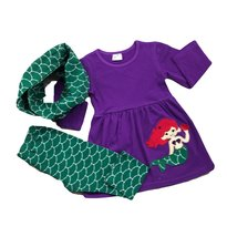 Cute Kids Clothing Toddler Girl's 3-Pc Purple Green Mermaid Scarf Outfit... - $31.49