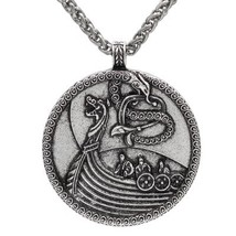 Norse Viking Jewelry Antique Pirate Ship Double Side Odin Dragon Pendant... - $13.13