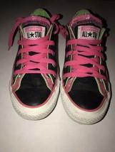 Converse All Stars Black Pink Metallic Neon Green Size 5 Girls Womens Shoes - $15.98