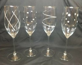 Mikasa Cheers Champagne Flutes Set Of 4 Dots Stripes Ribbon And Squares - $34.72