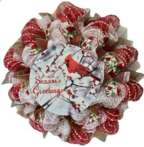 Seasons Greetings Cardinal Handmade Deco Mesh Holiday Wreath - $89.99
