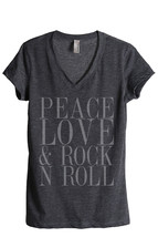Thread Tank Peace Love And Rock n Roll Women's Relaxed V-Neck T-Shirt Te... - $24.99+