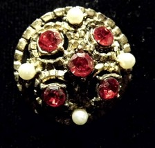 Vintage Round Red Gems Pearl Brooch Costume Fashion Jewelry - $8.66