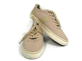 Ralph Lauren Hanford Men's Brown Canvas Fashion Sneaker Shoes Lace Up Si... - $29.69