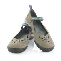 Jambu Brooks Gray Green Laser Cut Floral Mary Janes Flats Sandals Women 8.5 M - $29.60