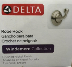Delta Genuine Parts 79635-BN Brushed Nickel Windemere Collection Robe Hook New - $17.52