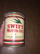 Swift Metal Motor Oil Can Oscar Bryant Hollis Oklahoma Very Rare (empty)... - $68.31