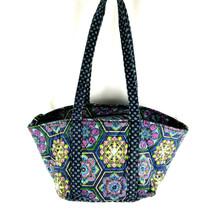 Vintage Floral Brocade Soft Side Satchel Handbag / Carry Bag - Blue Pattern - $24.21