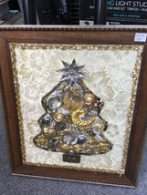 "Vintage Jewelry Christmas Tree Picture Art Framed 14.5"" x 16.5"" Hand Cra... - $48.32"