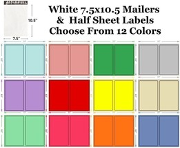 7.5x10.5 White Poly Mailers + Colored Half Sheet Self Adhesive Shipping ... - $2.99+