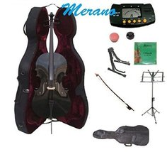 4/4 Size Black Cello,Hard Case,Soft Bag,Bow,Strings,Metro Tuner,2 Stands... - $329.99