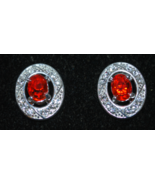 July Birthstone Earrings (2-In-1) Avon (Ruby Red Color) with Enhancer Ba... - $3.50