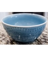 Threshold Kennet Azure Cereal Bowls Blue Embossed Dots Bands Stoneware - $8.55