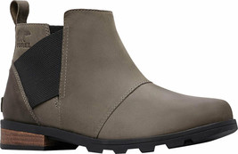 New $150 SOREL Women's EMELIE Chelsea Boot Leather, Quarry, Black, Size 7.5 - $79.90
